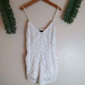 White Kendall & Kylie embroidered romper